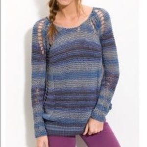 Free People Striped Open Knit Tunic Sweater